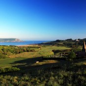 The view of the par 4, 10th green with par 3, 11th behind and the St Enodoc Church at the St Enodoc Golf Club